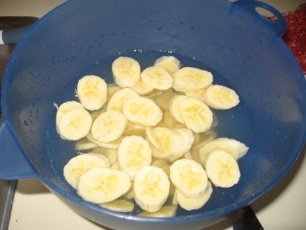Pre-treating the bananas.