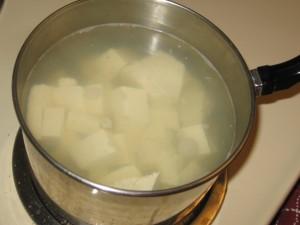Boiling tofu...hmhmm tasty!
