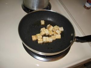 Sauteeing the tofu