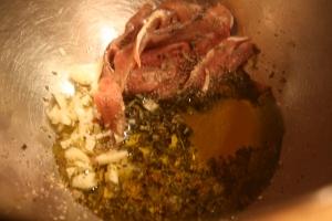 Gratin nicois:  anchovy-garlic mix