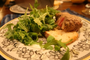 The arugula negates the calories from the pate, you know.