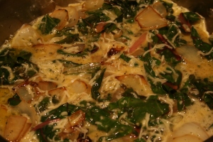 Chard Frittata cooking