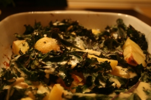 Potato Kale and Tahini salad
