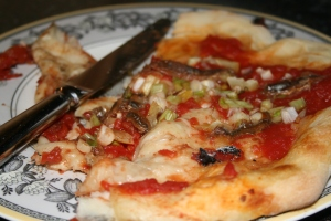 anchovy pizza baked