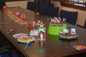 Just a few of the festivities -- including the hand-colored pie topper crafted by yours truly.