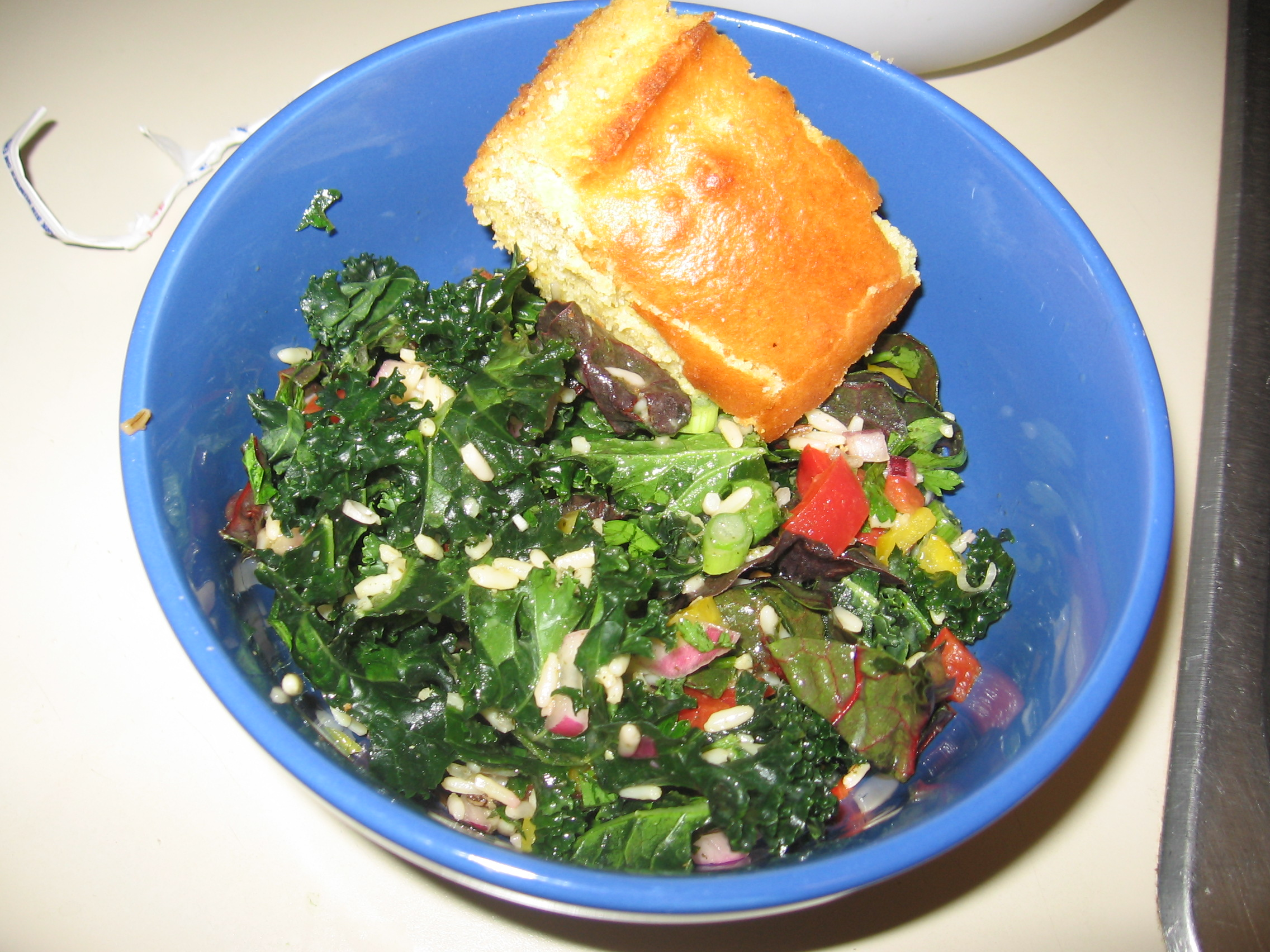 Emerald City Salad, RV Style, with cornbread